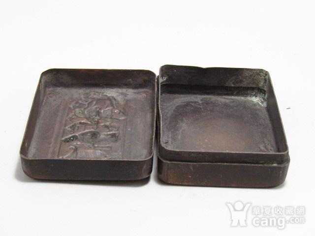 清 带款 老紫铜 打造 人物墨盒 包浆厚重图3