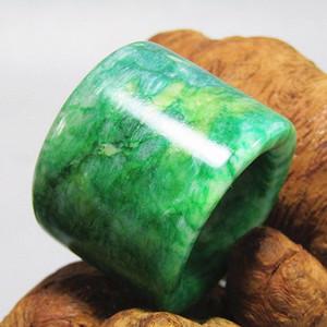 老坑 翡翠 满绿 扳指 翠色特别漂亮