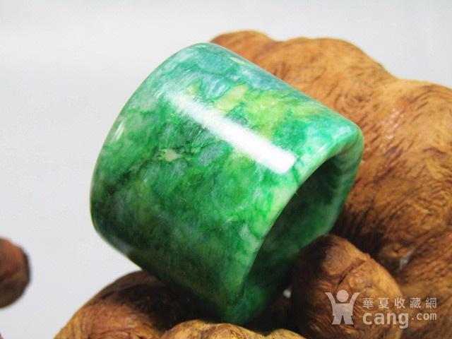 老坑 翡翠 满绿 扳指 翠色特别漂亮图1