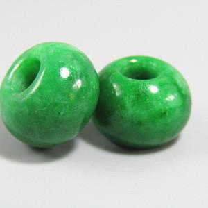民国老坑翡翠满绿 算盘珠 两颗 水头非常好
