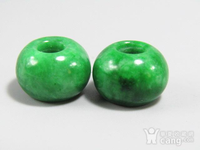 民国老坑翡翠满绿 算盘珠 两颗 水头非常好图6