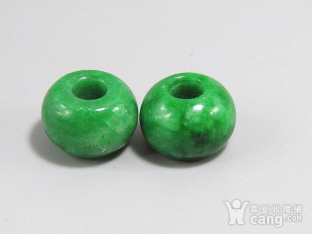 民国老坑翡翠满绿 算盘珠 两颗 水头非常好图3