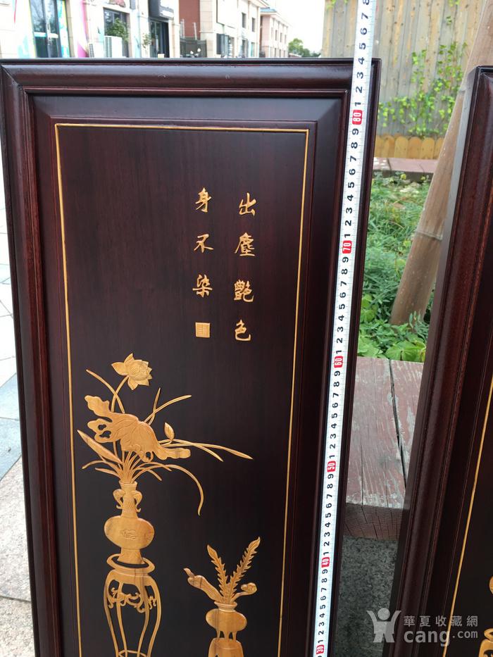 黄杨木高嵌四挂屏图3