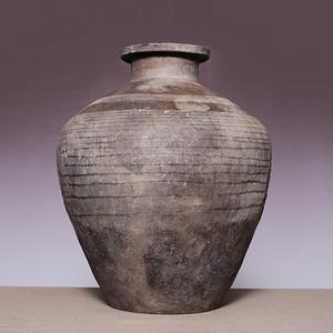 藏海淘 高古单氏铭文老陶瓶 JZ498