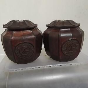 一对酸枝木围棋罐