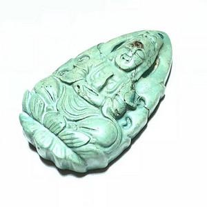 民国 原矿绿松石 观音大士 挂件 瓷度不错 工艺 很好