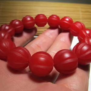 民国时期 正宗 保山 柿子红 玛瑙 福瓜珠 手串