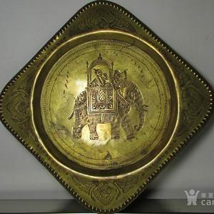 19世纪铜鎏金錾刻印度教人物故事壁挂饰