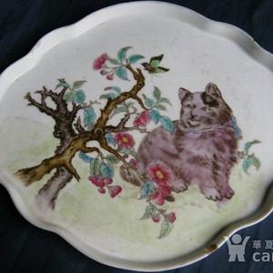清晚民国粉彩耄耋纹海棠形盘