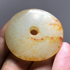 明代 和田玉 籽料 平安扣 带洒金皮 橘皮纹 清晰 玉制温润