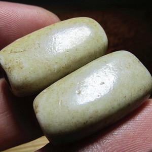 开门到代 战汉时期 鸡骨白 扁珠对 玉质 包浆老道 熟润至极