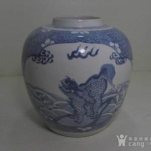 康熙青花开光绘海水云纹麒麟纹大罐