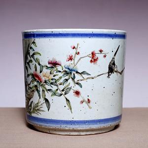 藏海淘 民国花鸟纹喜鹊图粉彩笔筒 JZ296