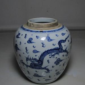 雍正青花龙凤罐
