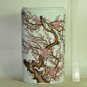 70 80年代手绘粉彩扁瓷瓶