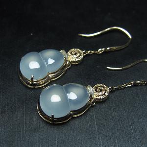 联盟 收藏级玻璃种翡翠A货18K金葫芦耳环