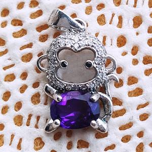 VVS级2.4克紫晶925银坠子