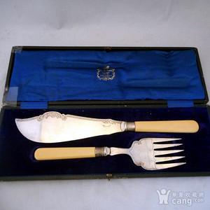 欧洲回流特大18世纪精品餐具纯银2件套