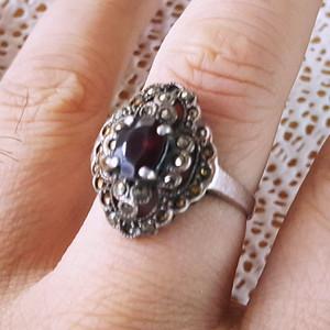精品 19世纪欧洲石榴石老银戒指