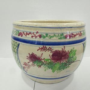 清晚期红绿彩卷缸