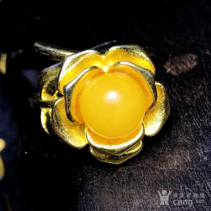 完美满蜜鸡油黄!波罗的海天然蜜蜡玫瑰花开漂亮大戒指!图6