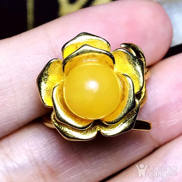 完美满蜜鸡油黄!波罗的海天然蜜蜡玫瑰花开漂亮大戒指!图7