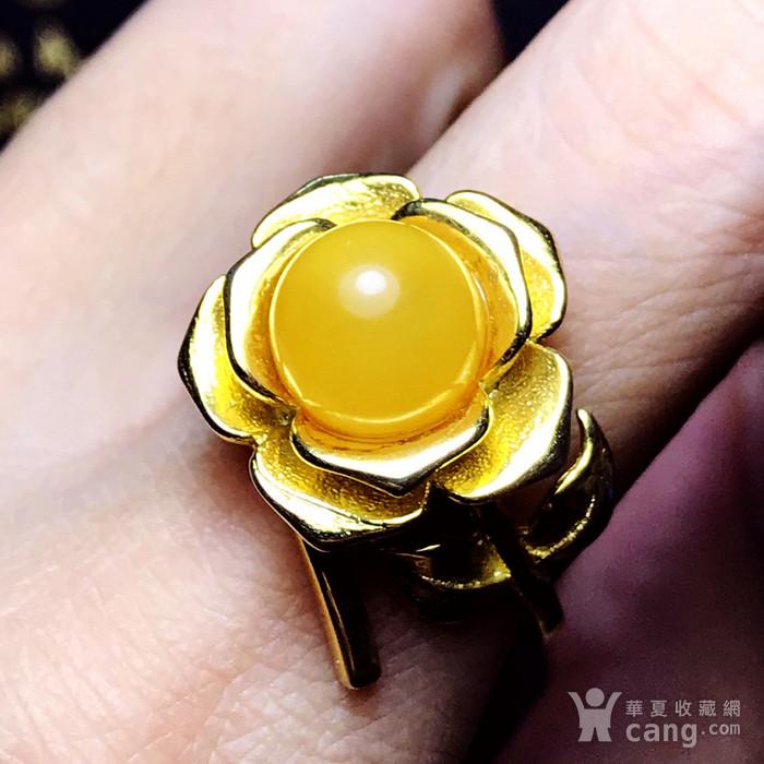 完美满蜜鸡油黄!波罗的海天然蜜蜡玫瑰花开漂亮大戒指!图9