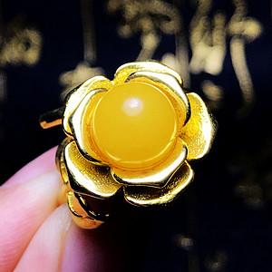 完美满蜜鸡油黄!波罗的海天然蜜蜡玫瑰花开漂亮大戒指!