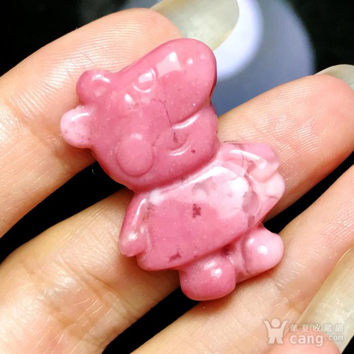风靡全球小猪佩奇!美国蔷薇辉石桃花玉满色雕刻社会猪可爱小猪图3