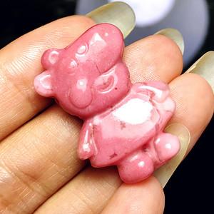 风靡全球小猪佩奇!美国蔷薇辉石桃花玉满色雕刻社会猪可爱小猪