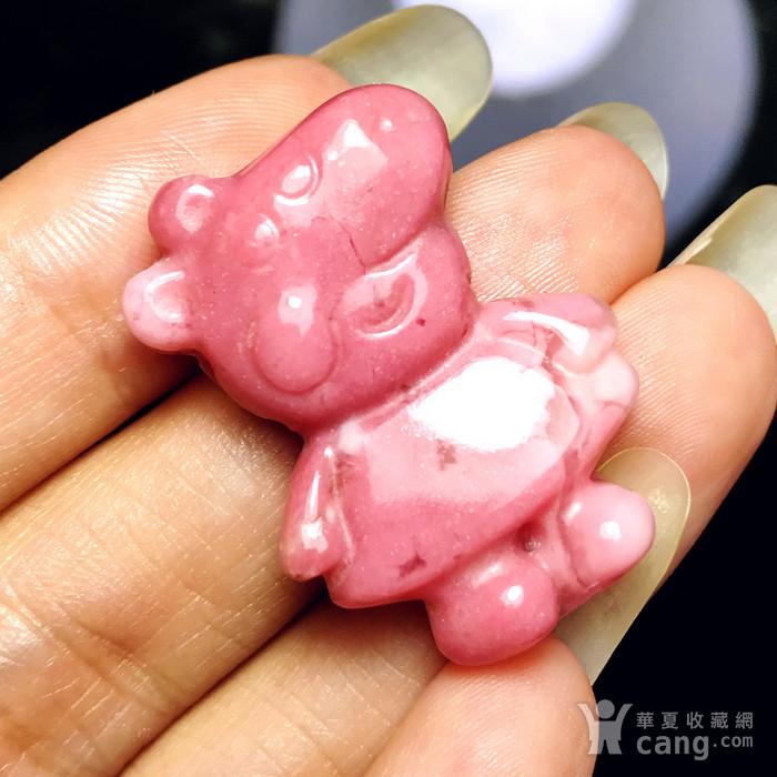 风靡全球小猪佩奇!美国蔷薇辉石桃花玉满色雕刻社会猪可爱小猪图1