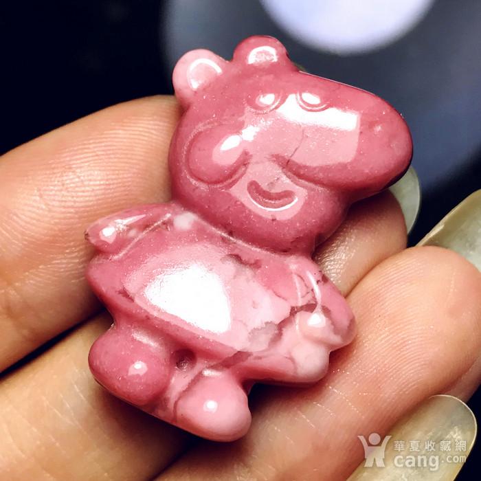 风靡全球小猪佩奇!美国蔷薇辉石桃花玉满色雕刻社会猪可爱小猪图4