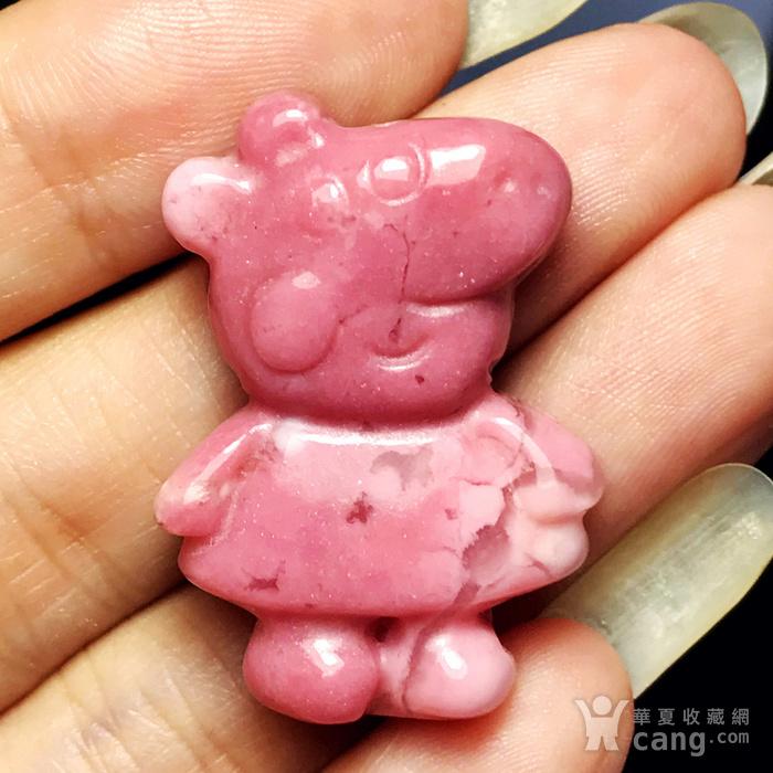风靡全球小猪佩奇!美国蔷薇辉石桃花玉满色雕刻社会猪可爱小猪图11