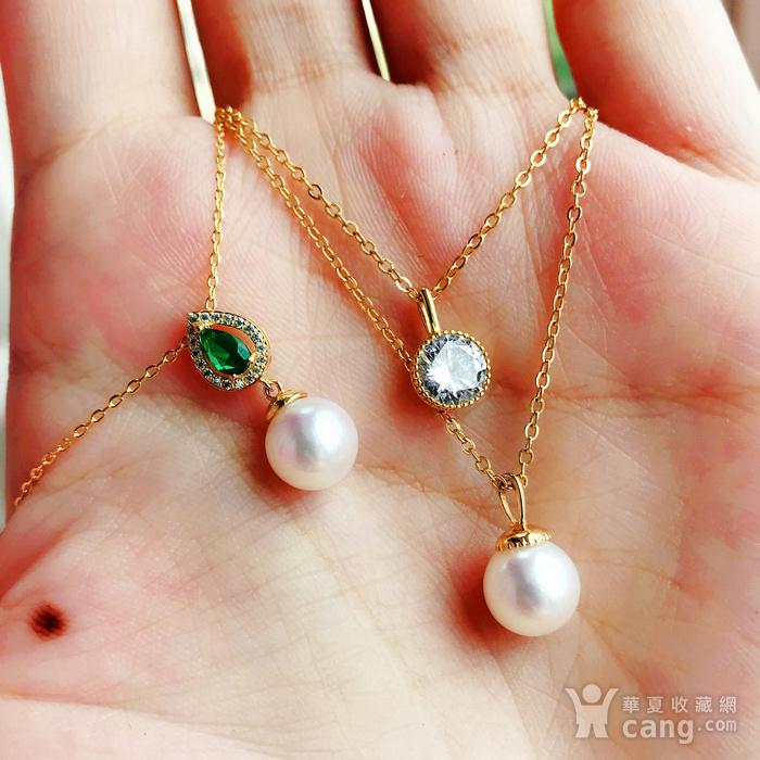 日本AKOYA海水珍珠完美正圆樱花粉虹光天然珍珠精致锁骨项链!图12