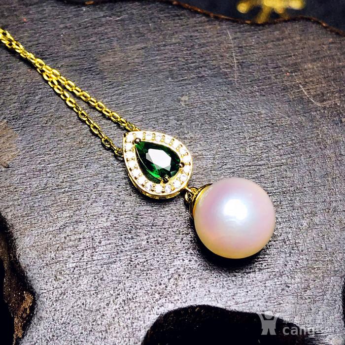 日本AKOYA海水珍珠完美正圆樱花粉虹光天然珍珠精致锁骨项链!图9