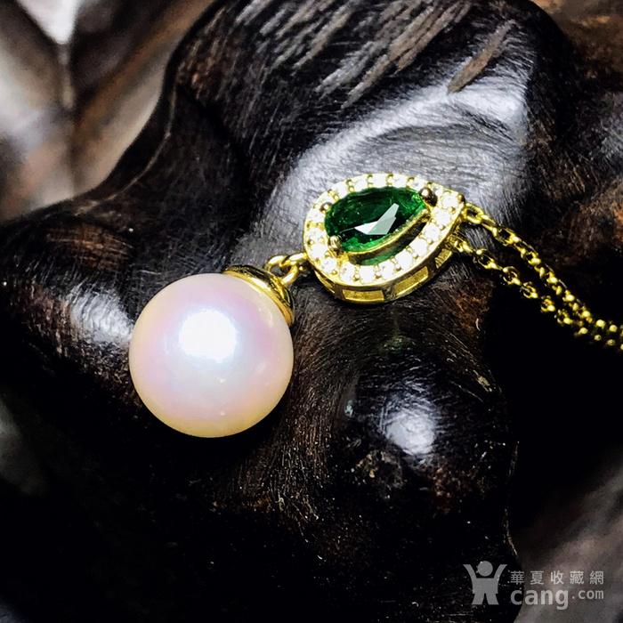 日本AKOYA海水珍珠完美正圆樱花粉虹光天然珍珠精致锁骨项链!图4