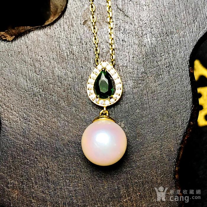日本AKOYA海水珍珠完美正圆樱花粉虹光天然珍珠精致锁骨项链!图6