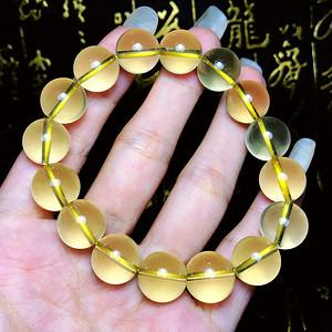 天然黄水晶!完美5A级全净玻璃体柠檬晶黄水晶12MM圆珠手串!