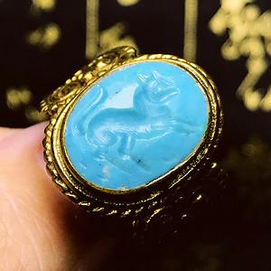意大利回流!神兽图腾纹老印珠印戒大戒指!