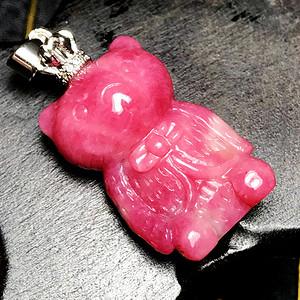 私人订制国王小熊!美国蔷薇辉石纯手工精雕可爱芭比熊吊坠!