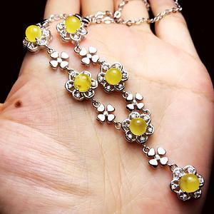 金黄蜜蜡项链!波罗的海天然原矿蜜蜡金绞蜜正圆珠银镶项链!