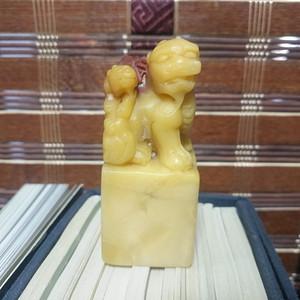 寿山石母子狮章料