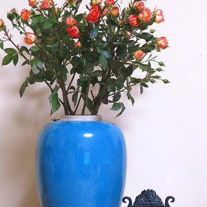 民国27cm天蓝釉大罐