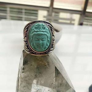 联盟 湖北原矿三无高瓷蓝观音925银戒指