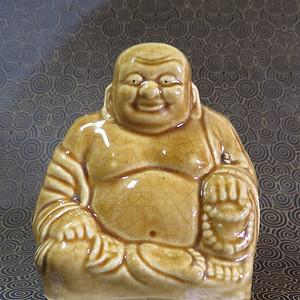 民国黄釉弥勒佛塑像