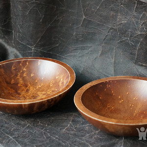 加拿大手工实木碗两个