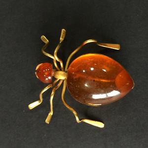 8013俄罗斯金工琥珀蜘蛛胸针