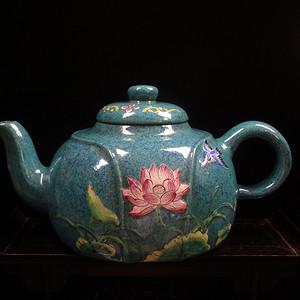 文革珐琅彩紫砂壶