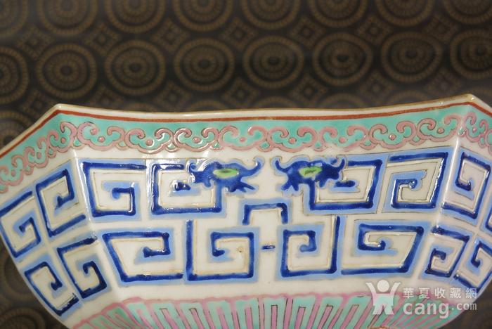 清代同治饕餮双龙回纹异形大盆图7