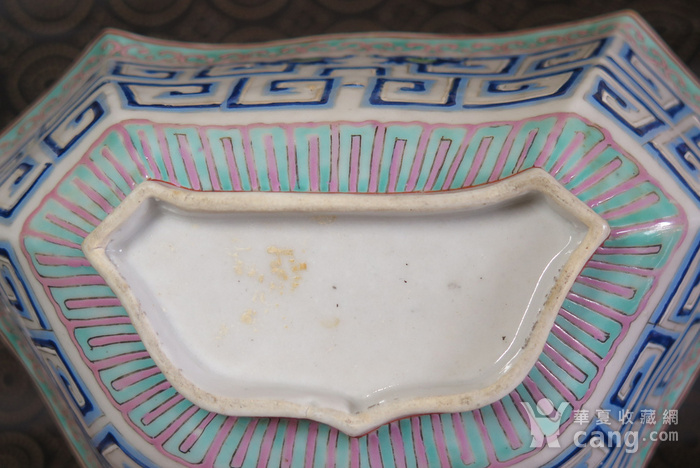 清代同治饕餮双龙回纹异形大盆图9
